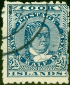 Cook Islands 1902 2 1/2d Dull Blue SG27 Thick Pirie Paper Fine Used