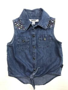 DKNY Kids Girls Shirt Chambray Sleeveless Studded Blouse Medium wash Size 4
