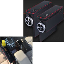 2PCS Car Side Armrest Storage Box Coin Collector Cup Holder Keys Cards Organizer