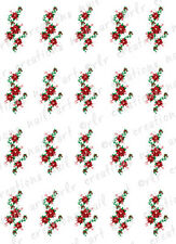 20 CHRISTMAS NAIL DECALS * POINSETTIA SWIRLS *  WATER SLIDE NAIL TRANSFER DECAL