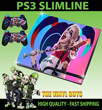 PLAYSTATION 3 SLIM CONSOLE HARLEY QUINN SUICIDE SQUAD 02 PINK SKIN & 2 PAD SKINS