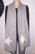 Italy Moda langer XXL Strick Schal Stola grau  Sterne weiß  Cashmere  Wolle