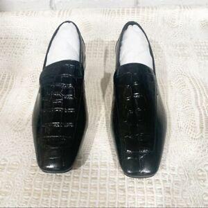 Jeffrey Campbell Women's Black Marko Croc Embossed Loafer - Size 10