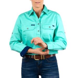 Pentecost River Mint Womens Half Button Work Shirt Ringers Western