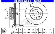 ATE Juego de 2 discos freno Antes 256mm ventilado para MERCEDES 24.0122-0260.1