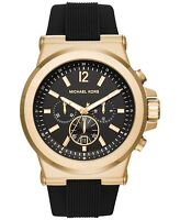New Michael Kors Men's Dylan Quartz S. Steel Black Silicone 100m Watch MK8445