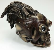 """8"""" STEAMPUNK INDUSTRIAL AGE Human Skull Statue Wire & Leather Finish Hair Decor"""