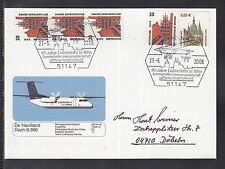 "A 198 ) BRD Germany Sonderkarte De Havilland Dash 8-300 "" 80 Jahre Luftverkehr"""