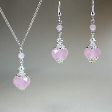 Blush pink crystal silver necklace earrings wedding bridesmaid jewellery set
