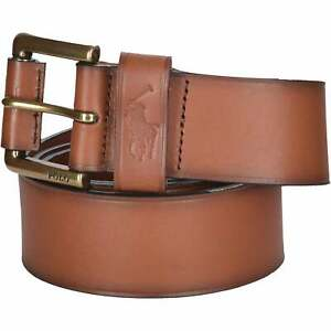 Polo Ralph Lauren Men's Vintage Leather Jeans Belt, Tan Brown