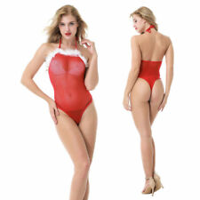 Christmas lingerie teddy lingerie bodysuit women white hair red sexy clothes