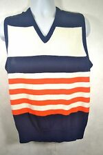 ANTIGUA Men's Sweater Vest Blue Orange Denver Broncos LG Acrylic V Neck