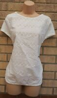 G21 FLORAL EMBROIDERED CROCHET FRONT SHORT SLEEVE COTTON BLOUSE TOP 14 L