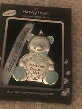 HARVEY LEWIS BABY BOYS FIRST CHRISTMAS ORNAMENT 2014 NEW SWAROVSKI crystals