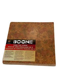 Boone Cork Tile (4 pack) 12x12 Push Pin Cork Board for Office / Desk Organizing