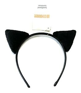 🌸 One Size Gymboree Girls Black Cat Ear Headband Halloween NWT