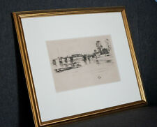 Old Fulham (or Putney) toll bridge - Vintage Bookplate of J Whistler etching