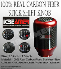 JDM Red Aluminum w/ Carbon Fiber Manual Gear Stick Shift Knob 5 6 Speeds C3