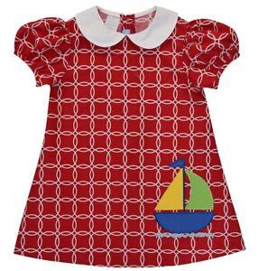Girls red sailboat boutique dress 12 18 months 2T NWT beach nautical summer