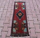 Authentic Oriental Red Doormat Rug Anatolian Vintage Hand Knotted Carpet 2x4 ft
