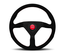 Momo Monte Carlo Alcantara Steering Wheel 350mm Black/Red Stitching for PORSCHE