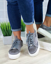 New Womens Casual Creepers Flatform Lace Up Diamante Trainers Flat Shoes Sizes