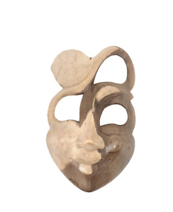 """7"""" Wooden Designer Mask   Face Mask Made from Hibiscus Wood   Wooden Mask"""