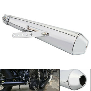440mm Slip On Motorcycle Exhaust Pipe Muffler For Harley Bobbers Custom Chrome