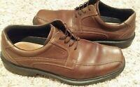 ECCO Oxford Dress Shoes Mens Sz 43 EU/10 US Brown Leather Shock Point Lace Up