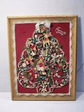 Vintage Framed Folk Art LIGHTED Christmas Tree Jewelry Display 22 x 28