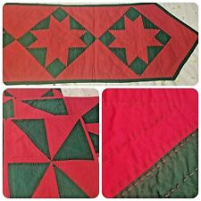 Christmas Table Runner and Matching Placemats Christmas Red Green Stars Handmade