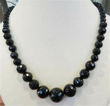 "Faceted 6-14mm Black Agate Round Onyx Gems Beads Necklace 18"" JN28"