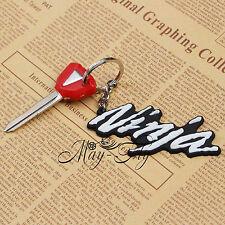3D Soft Rubber Motorcycle Keychain Blade Uncut Key+Ring For Kawasaki Ninja New
