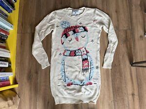 Drop Dead Clothing Winter Penguin Christmas Jumper Dress Super Long Line Sweater