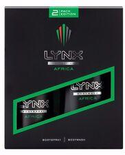 Lynx Africa Gift Set For Men 150ml Deodorant Body Spray 250ml Shower Gel Boxed