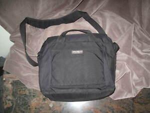 "EDDIE BAUER Black Padded Nylon Messenger Bag 15"" x 12"" x 5"""