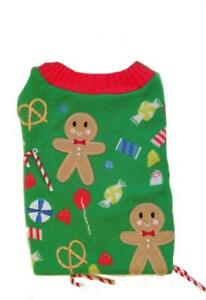Holiday Pet Dog Costume Ugly Sweater Ginger Bread Candy Cane Christmas NEW