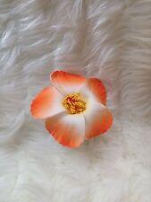 HAWAIIAN HIBISCUS TWO TONE ORANGE FOAM FLOWER HAIRCLIP FANCY DRESS ACCESSORY