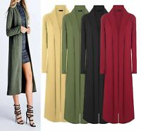 NEW LADIES DUSTER JACKET LONG SLEEVE WOMENS CREPE COAT OPEN FRONT LOOK CAPE TOP