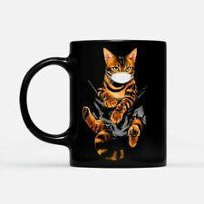Bengal Cat Face Mask In The Pocket - Black Mug