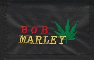BOB MARLEY Cannabis Stitched Nylon Chain Black Wallet Rock Merchandise