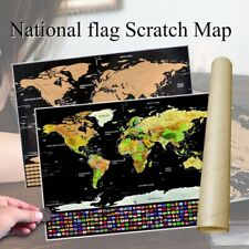 Scratch Off World Map With Country Flag Poster Travel Journal Log Map Gift 42*30