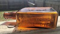 "unusual Square Whiskey Flask Emb."" MOUNT VERNON PURE RYE"" Rainbow Orange Amber"