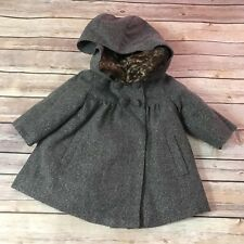 Natalys Fanelie Gray Hooded Coat 9 Mo Fur Trim Faux Grey Formal Dressy Winter