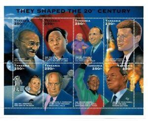 Tanzania 1996 - Famous People of the 20th Century - Gandhi, JFK, Mandela - MNH