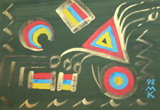 1992 Abstract Cubist gouache painting signed
