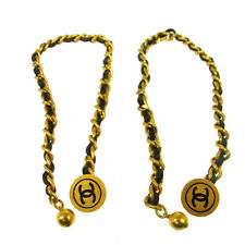 Auth CHANEL Vintage CC Sleeve Buttons Cuffs Gold Chain Accessories AK19228