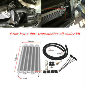 6 Row Radiator Remote Aluminum Transmission Oil Cooler+Mounting Universal Kit
