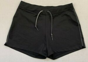 "rei women's black polyester lycra spandex sport shorts small 4"" inseam"