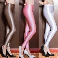 Damen Satin Glitter LEGGINS glänze Gymnastik Strumpfhose Zipper Offen Shiny Hose
